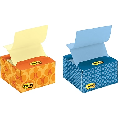 Post-it® 3in. x 3in. Assorted Designs Pop-up Notes with Desk Grip Dispenser, 6/Pack
