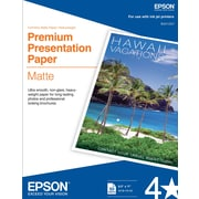 "Epson® Presentation Paper, 8 1/2 x 11"", Bright White Matte Finish, 50/Pack (S041257)"