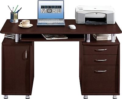 Techni Mobili Double Pedestal Laminate Computer Desk Chocolate