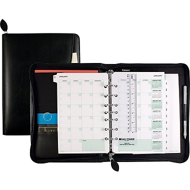 Day-Timer® D41745 5 1/2in. x 8 1/2in. Classic Bonded Leather Recycled Starter Set with Zip Closure, Black