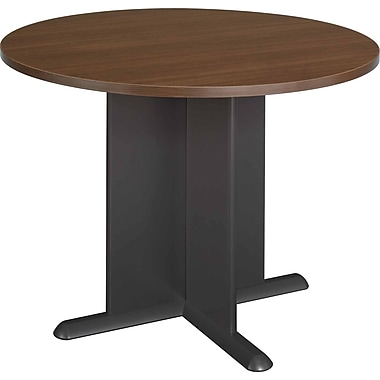 Bush® Cubix Collection Round Conference Table, Sienna Walnut & Bronze