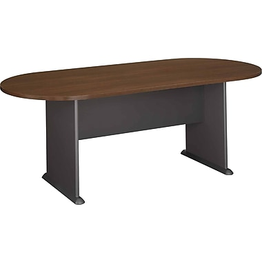 Bush® Cubix Collection Racetrack Conference Table, Sienna Walnut & Bronze