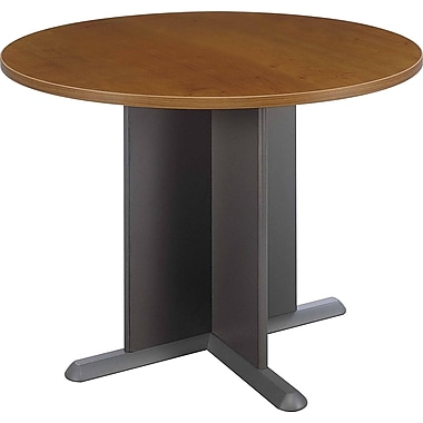 Bush® Westfield Collection Round Conference Table, Warm Oak