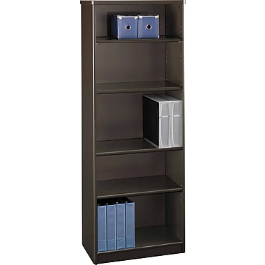 BushMD – Bibliothèque 5 tablettes de la collection Cubix, fini noyer Sienne/bronze