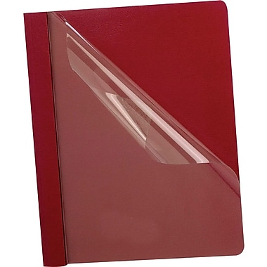 Staples® Deluxe Clear-Front Report Covers, Red