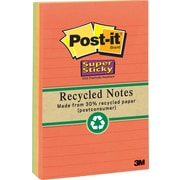 "Post-it(R) Recycled Super Sticky Notes, 4"" x 6"", Bali Collection, 3 Pads/Pack"
