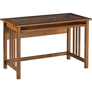 Office Star™ Mission Glass Top Computer Desk with Oak Finish