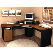 Bestar Hampton™ Corner L-Shaped Home Office Computer Desk, Tuscany Brown & Black