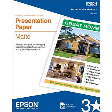 Epson® Photo-Quality Inkjet Paper, Matte, 8 1/2in. x 11in., 100/Pack