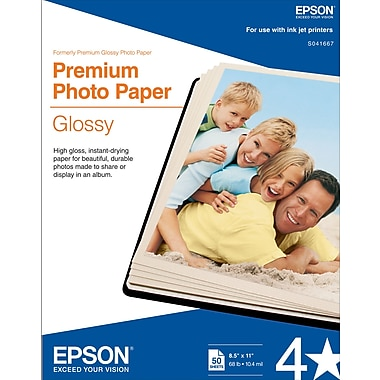 Epson® Premium Photo Inkjet Paper, 8 1/2
