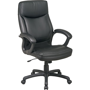 Office Star High-Back Bonded Leather Executive Chair, Fixed Arms, Black