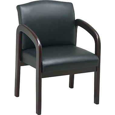 Office Star™ Wood Guest Chair, Mahogany Finish Wood with Black Faux Leather
