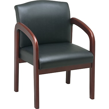 Office Star™ Wood Guest Chair, Cherry Finish Wood with Black Faux Leather