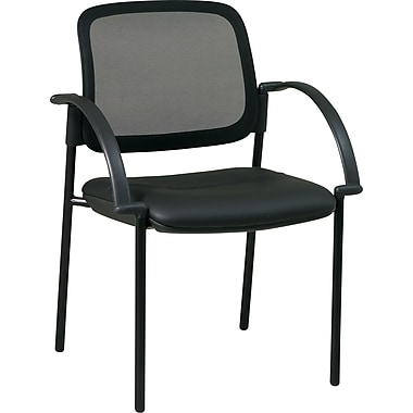 Office Star™ Screen Back Mesh Guest Chair with Faux Leather Seat