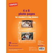 "Staples 4"" x 6"" Horizontal Photo Pages, 10/Pack (15936-CC)"