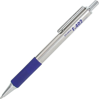 Zebra® F-402® Retractable Ballpoint Pen, Fine Point, Blue, 2/Pack