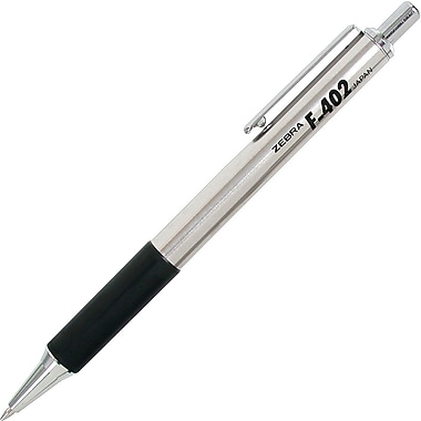 Zebra® F-402® Retractable Ballpoint Pen, Fine Point, Black, 2/Pack