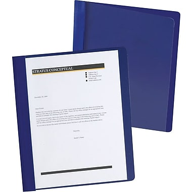 Oxford Extra Wide Clear Front Report Covers, Dark Blue, 25/Pack