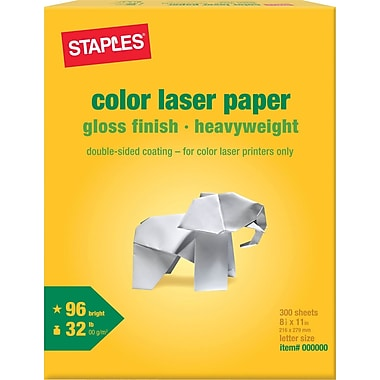 Staples® Color Laser Paper, Glossy, 8 1/2in. x 11in., 300/Pack