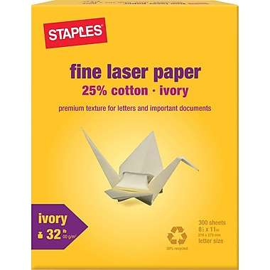 Staples® 25% Cotton Fine Laser Paper. Ivory