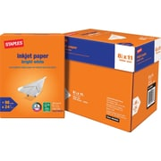 Staples® Bright White Inkjet Paper, 8 1/2in. x 11in., Half Case