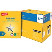Staples® Bright White Laser Paper, 8 1/2in. x 11in., 4-Ream Case
