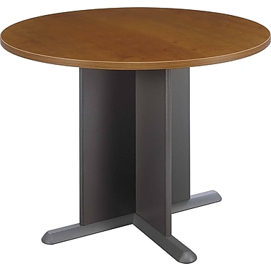Bush Westfield 42in. Round Conference Table, Warm Oak, Fully assembled