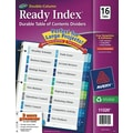 Ready Index Double-Column Table of Contents Dividers, 16-Tab Set, Punched