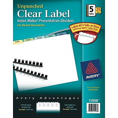 Avery® Unpunched Contemporary Colored Tabs, 5-Tab set