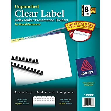 Avery®  Unpunched Contemporary Colored Tabs, 8-Tab set