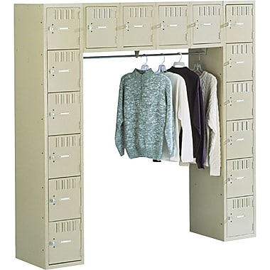 Tennsco Sixteen Box Compartment and Coat Bar System, Medium Gray