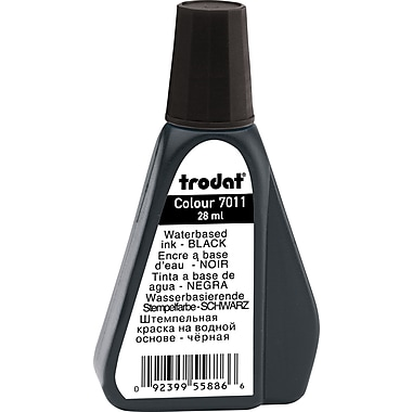 Trodat® Premium Stamp Pad Ink, #7011, 28mL Bottle, Black