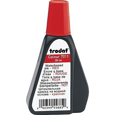 Trodat® Premium Stamp Pad Ink, #7011, 28mL Bottle, Red