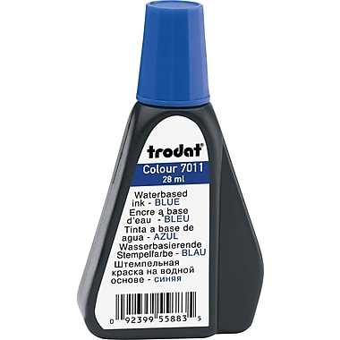 Trodat® Premium Stamp Pad Ink, #7011, 28mL Bottle, Blue