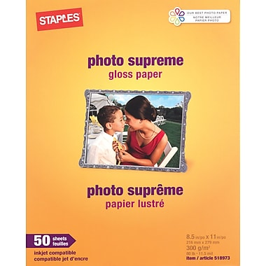 Staples® Photo Supreme Paper, 8 1/2in. x 11in., Gloss, 50/Pack