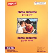 Staples® Photo Supreme Paper, 8 1/2 x 11, Gloss, 50/Pack