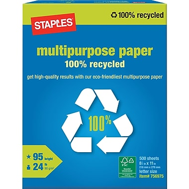 staples 100 recycled multipurpose paper ream