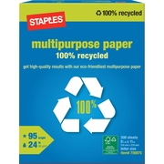 Staples 100% Recycled Multipurpose Paper, Ream