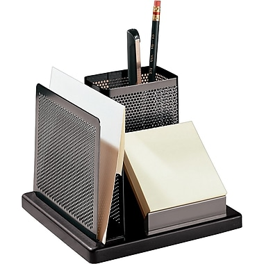 Rolodex™ Distinctions Punched Metal & Wood Desk Organizer