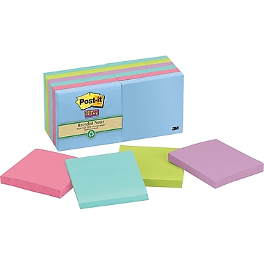 Post-it® Super Sticky 3in. x 3in. Recycled Tropic Breeze Notes, 12 Pads/Pack