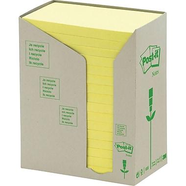 Post-it® - Feuillets recyclés en tours jaune canari, 5 x 3 po, paq./16 blocs