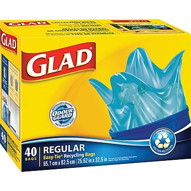 Glad® Easy-Tie Recycling Blue Bags, Regular, 40-Pack