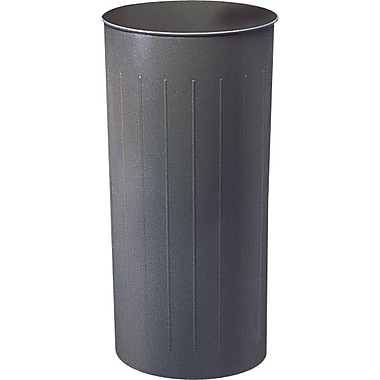 Safco® Fireproof Round Wastebasket, Charcoal Grey