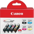 Canon CLI-221 Black and Color Ink Cartridges, 4/Pack