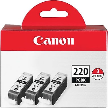 Canon PGI-220BK Black Ink Cartridges, 3/Pack
