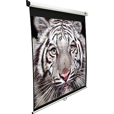 Elite Screens Manual Series 85in. Manual Wall / Ceiling Mount  Projector Screen, 1:1, White Casing