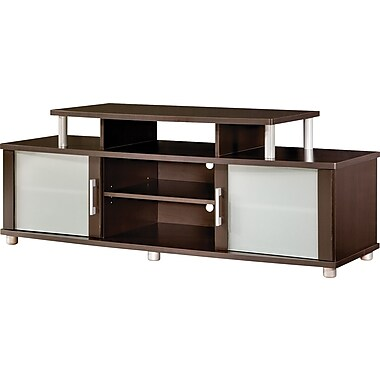 South Shore Espresso and Frosted Glass TV Stand