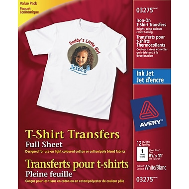 Avery® InkJet T-Shirt Iron-On Transfers
