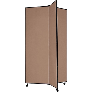 Screenflex 69in. Three Wing Mobile Display Tower, Oatmeal