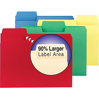 Smead® SuperTab Colored File Folders, Letter, 3 Tab, Assortment B, 100/Box